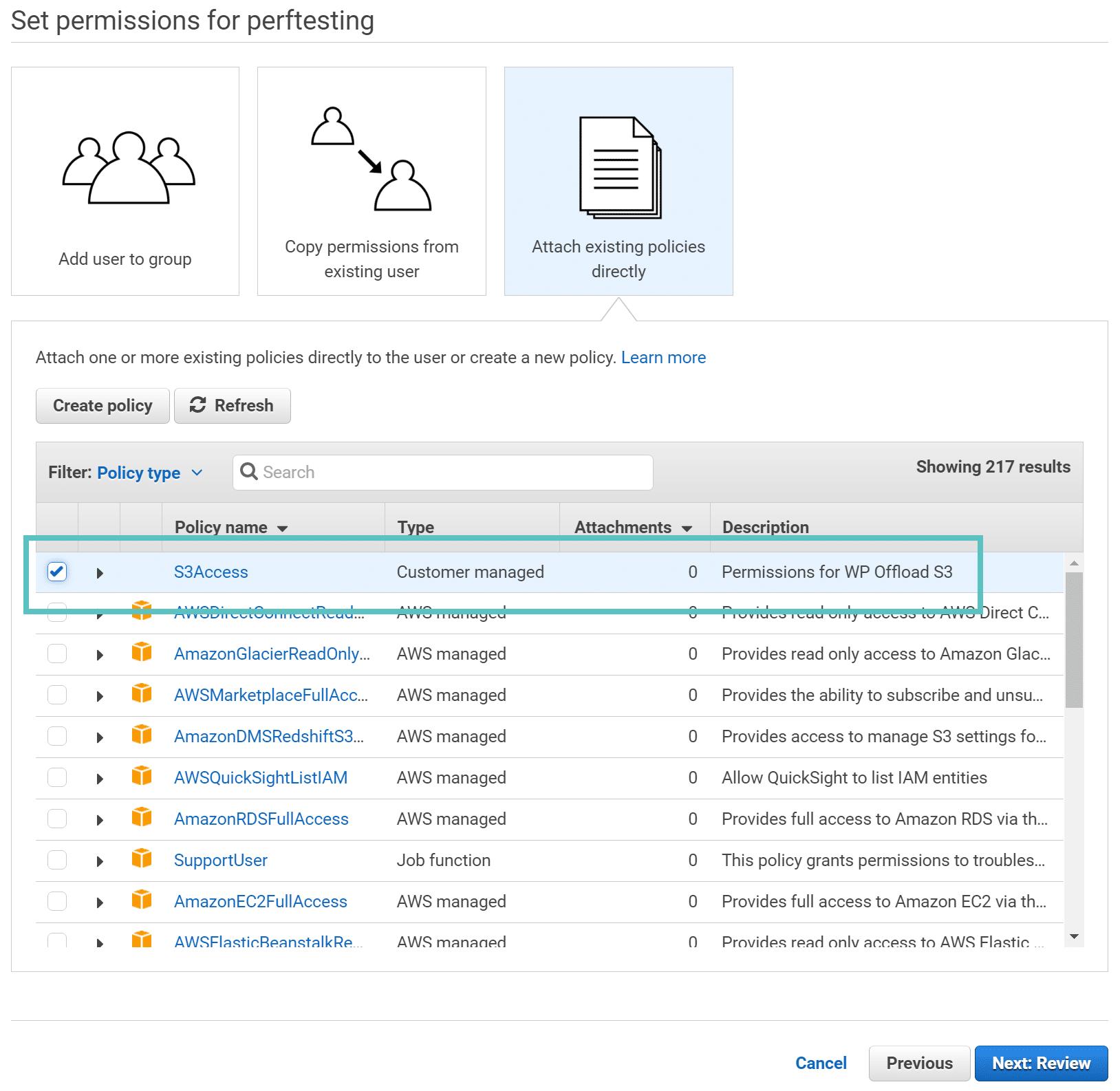 Permessi AWS per l'utente