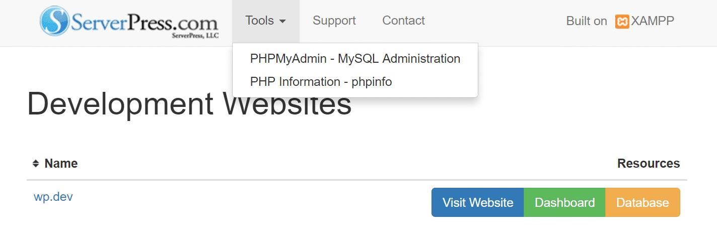 Strumenti DesktopServer – PHPMyAdmin