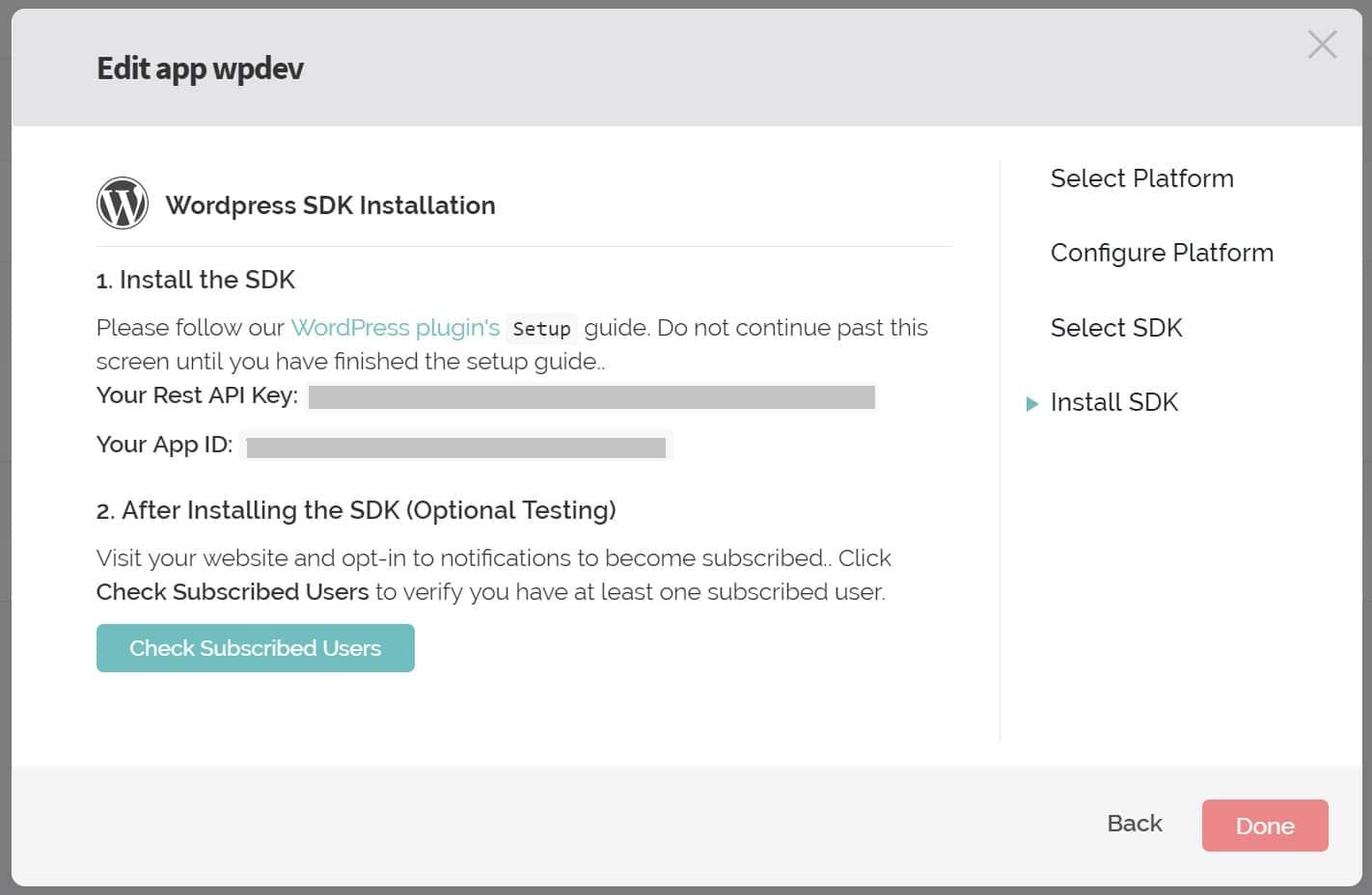 API key e App ID di OneSignal