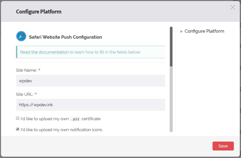 Configurazione push in Safari