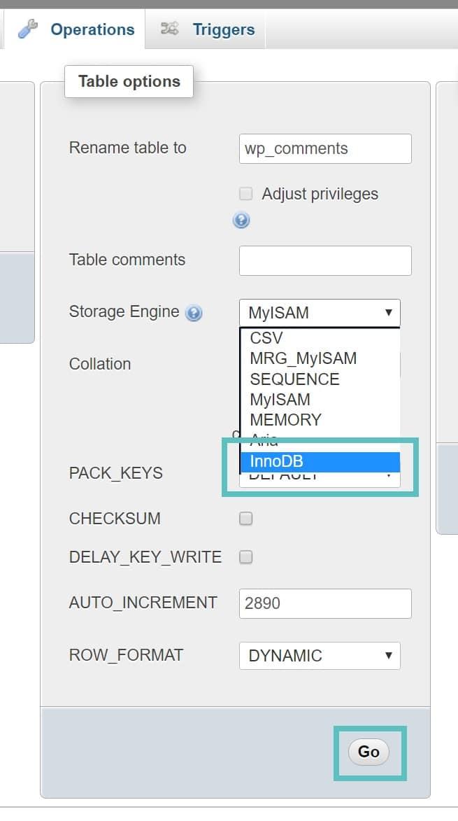 convertire una tabella myisam in innodb in phpmyadmin