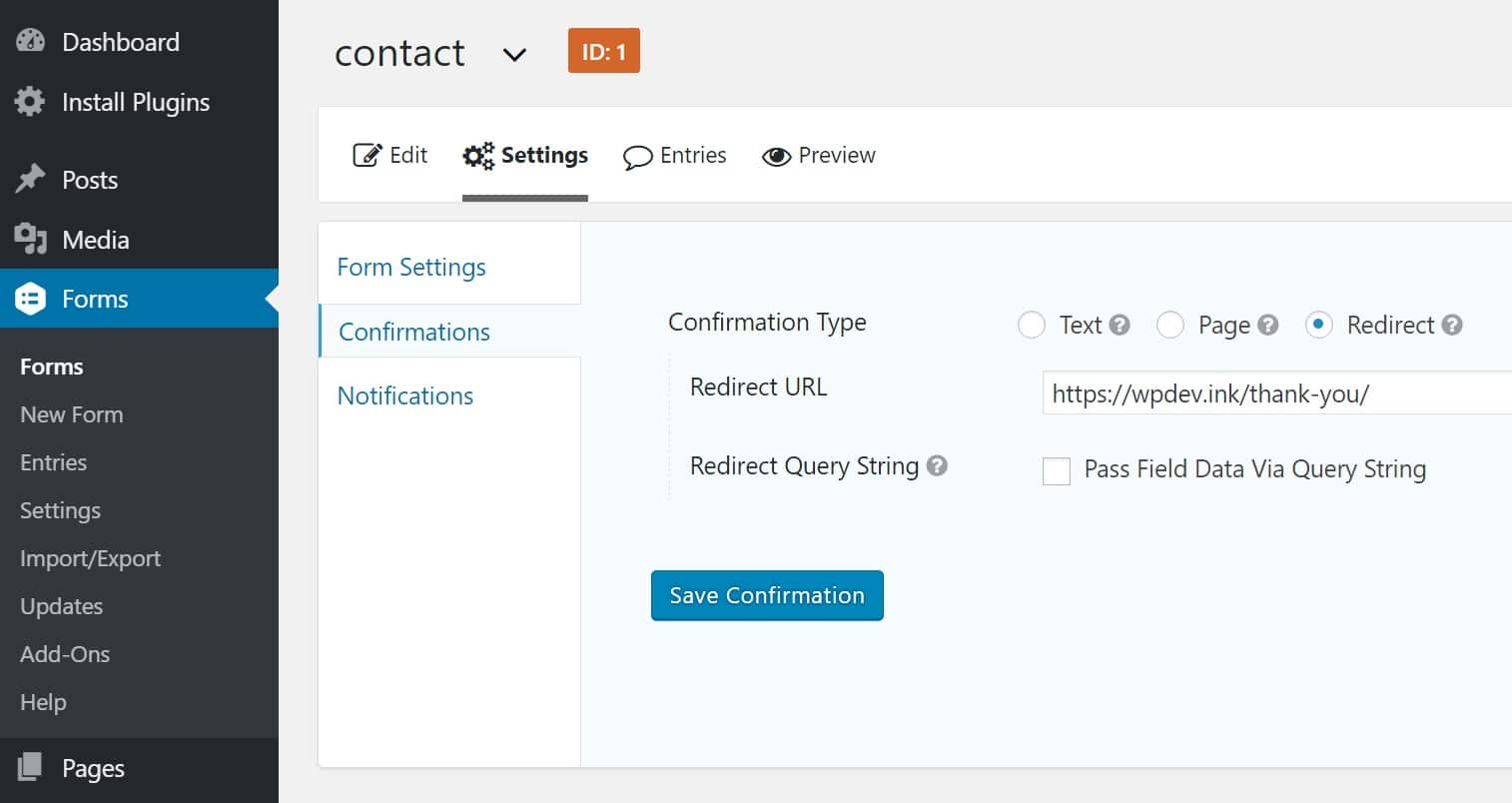 Funzione di redirect di Contact Form 7