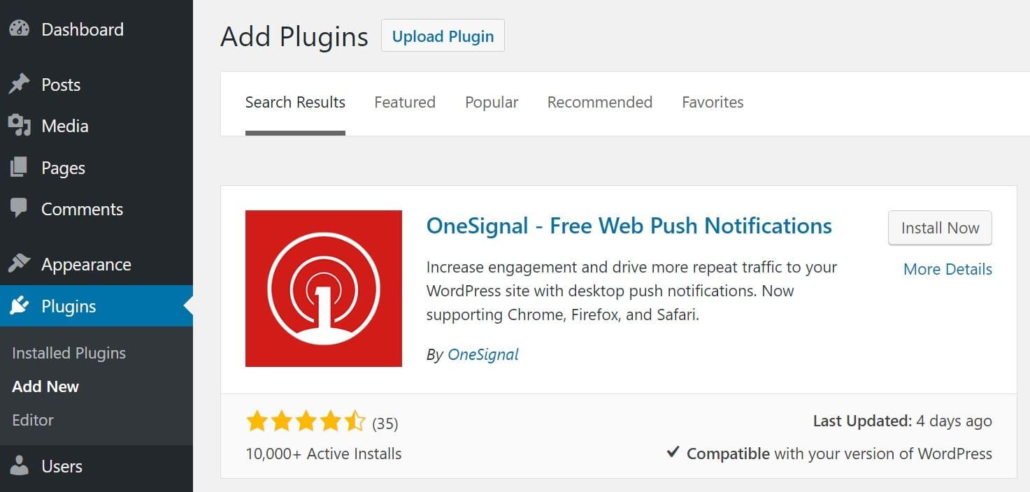 Installazione OneSignal web push notifications