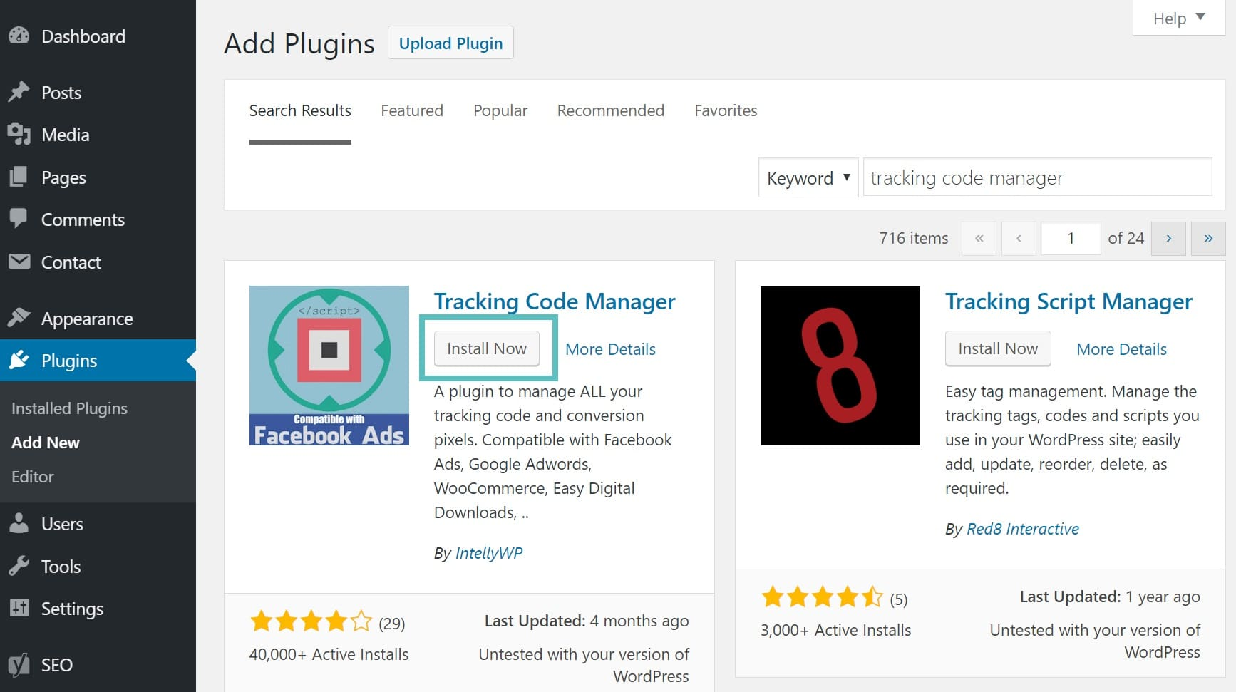 Installazione del plugin Tracking Code Manager di WordPress