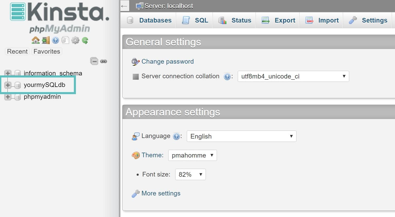 Database di WordPress in phpmyadmin