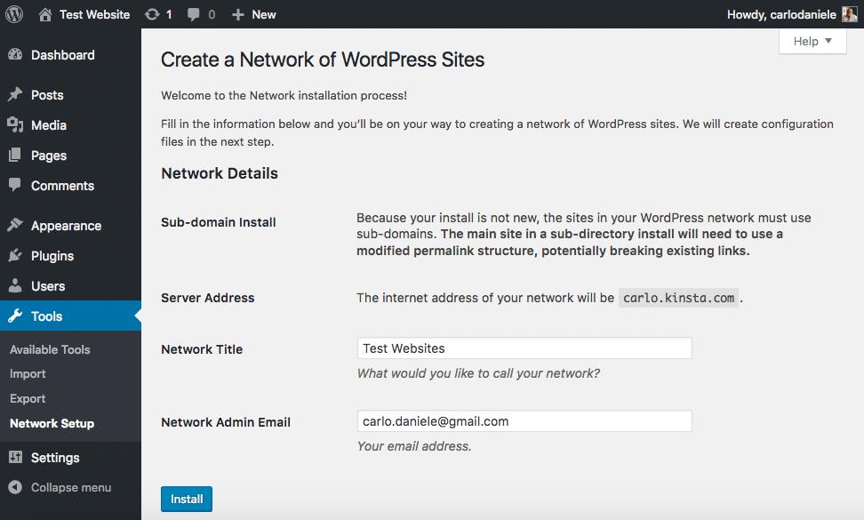 Se l'installazione originale ha più di un mese di vita, non è consentito installare un network basato sui sottodirectory