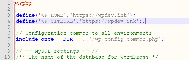 Cambiare l'URL WordPress nel file wp-config.php