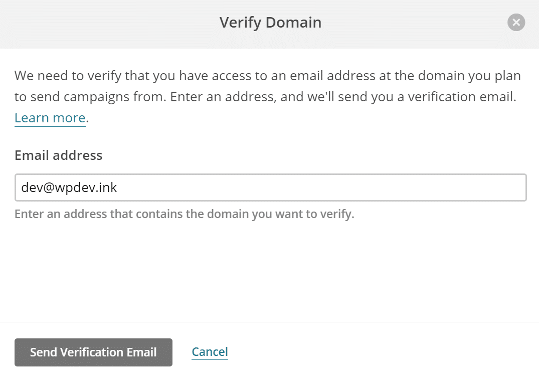 Invio email di verifica