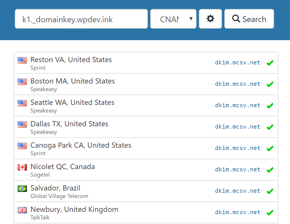 Verifica record DKIM