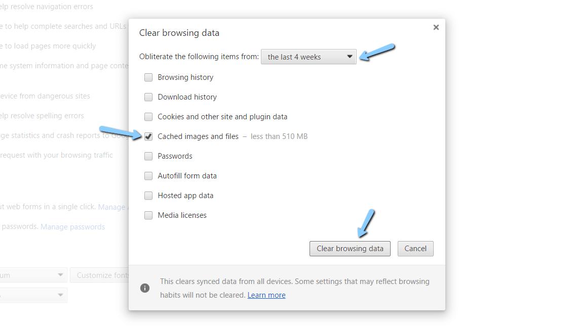 Cancella dati di navigazione in Google Chrome