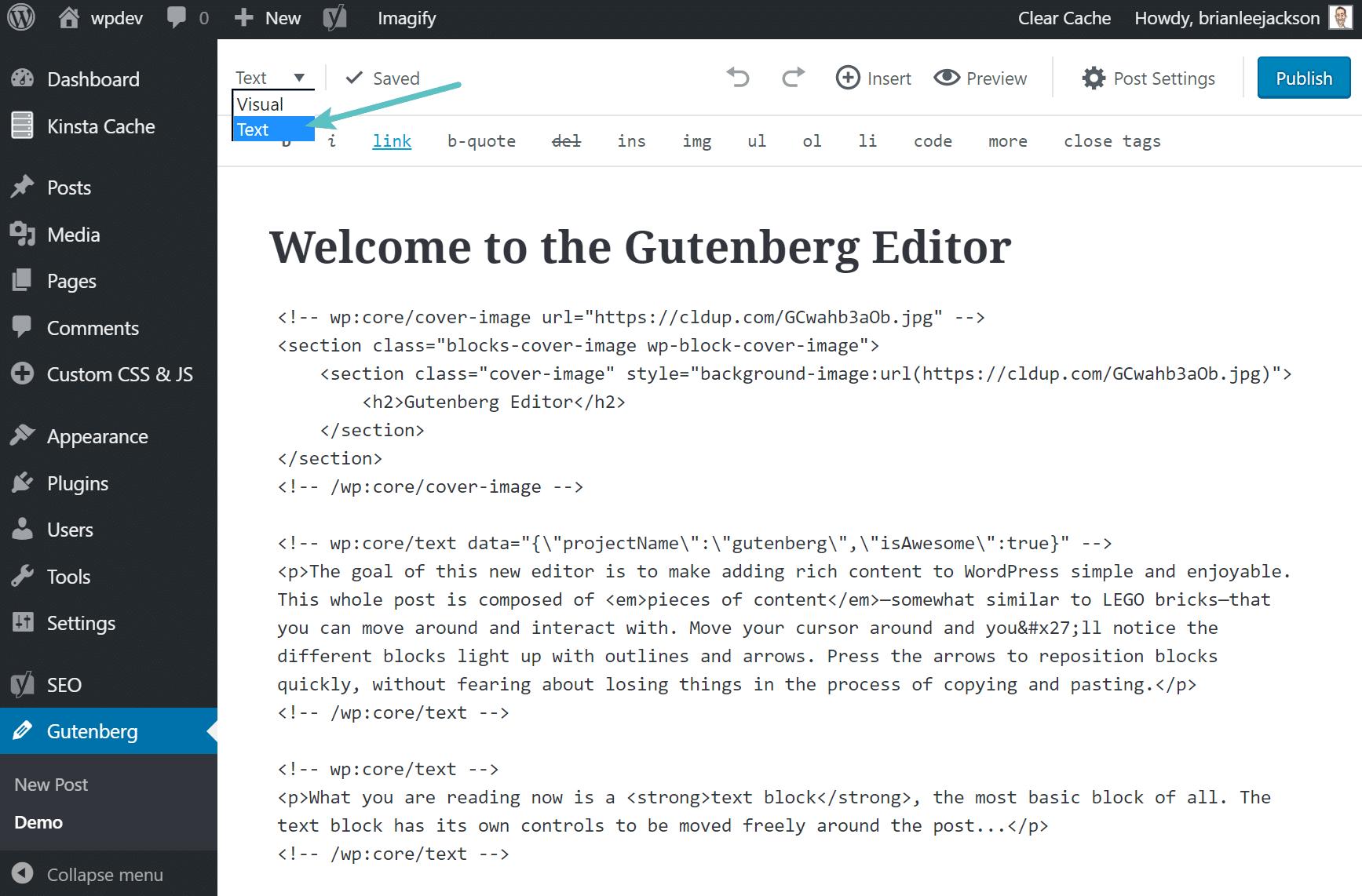 Editor testuale di Gutenberg