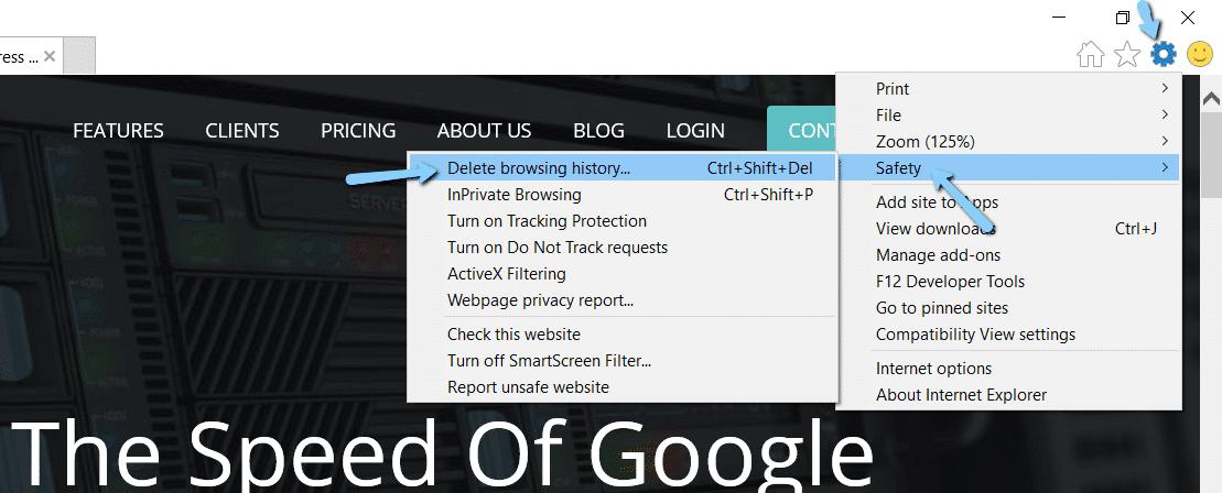 Elimina la cronologia di navigazione in Internet Explorer