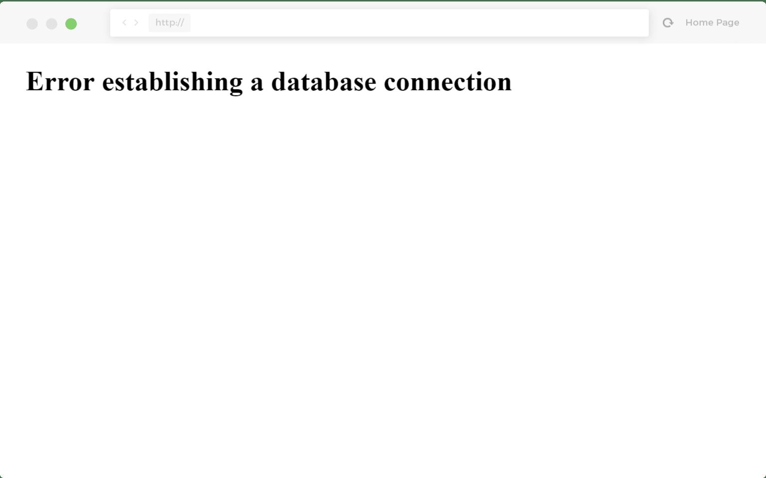Esempio di errore durante la creazione di una connessione al database