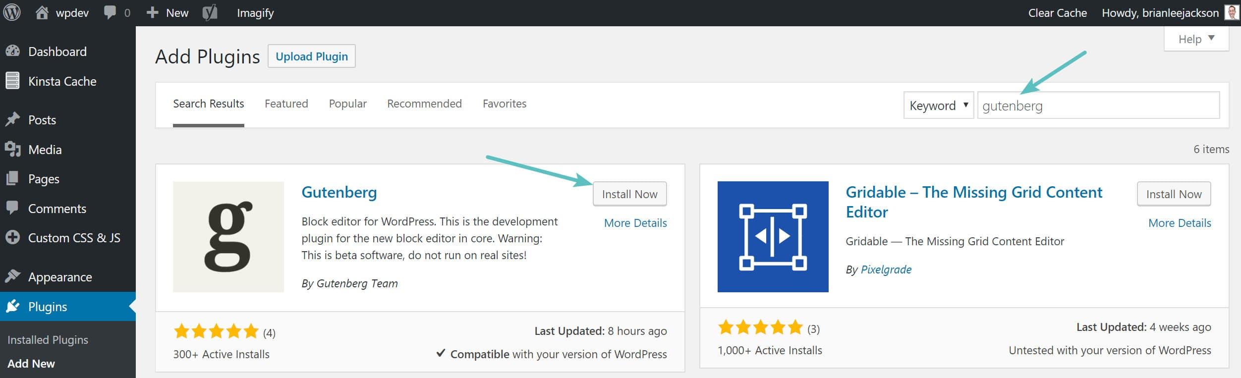 Installazione del plugin di WordPress Gutenberg