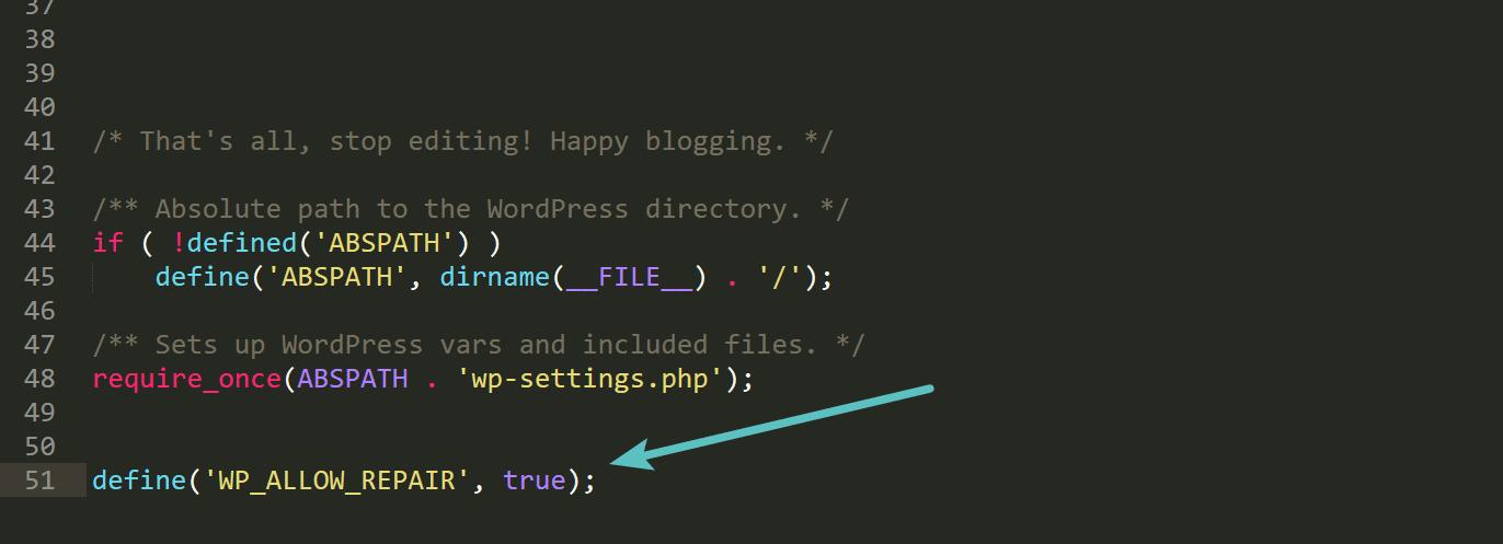Modalità repair in WordPress