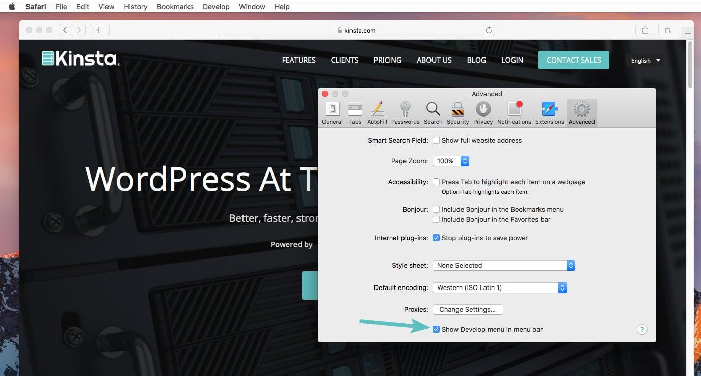 Mostra menu Sviluppo nella barra dei menu in Safari
