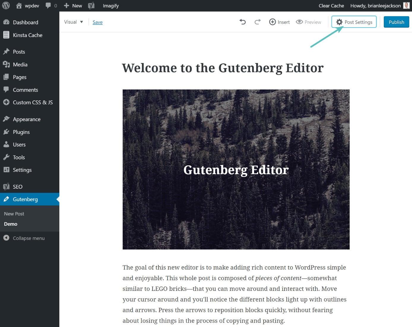 Nascondere le impostazioni del post in gutenberg