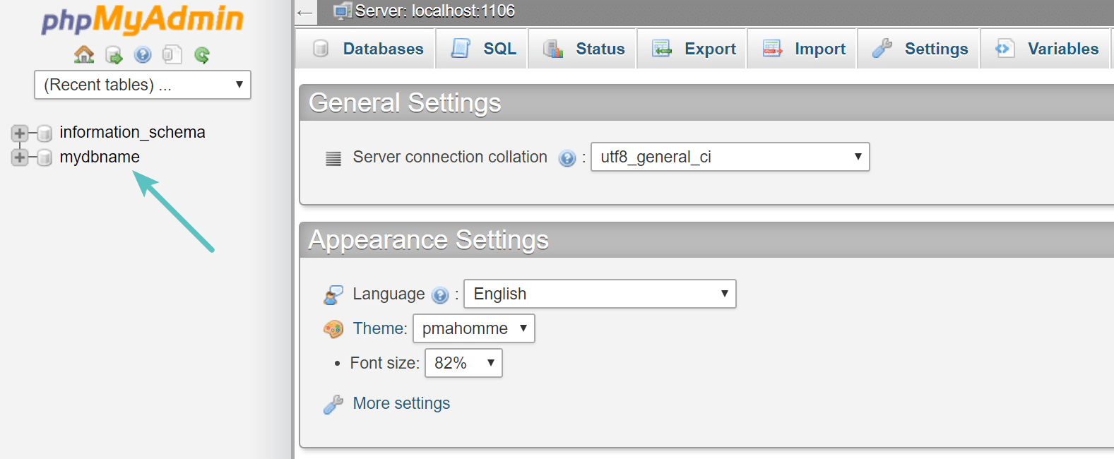 Nome database in cPanel