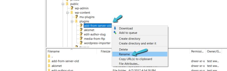 Rinominare la cartella del plugin di WordPress