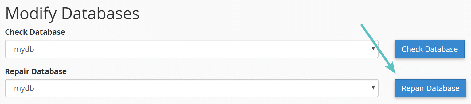 Riparare il database in cPanel
