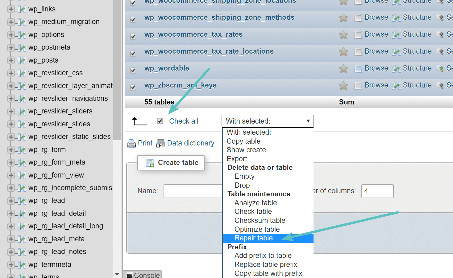Riparare le tabelle in in phpMyAdmin