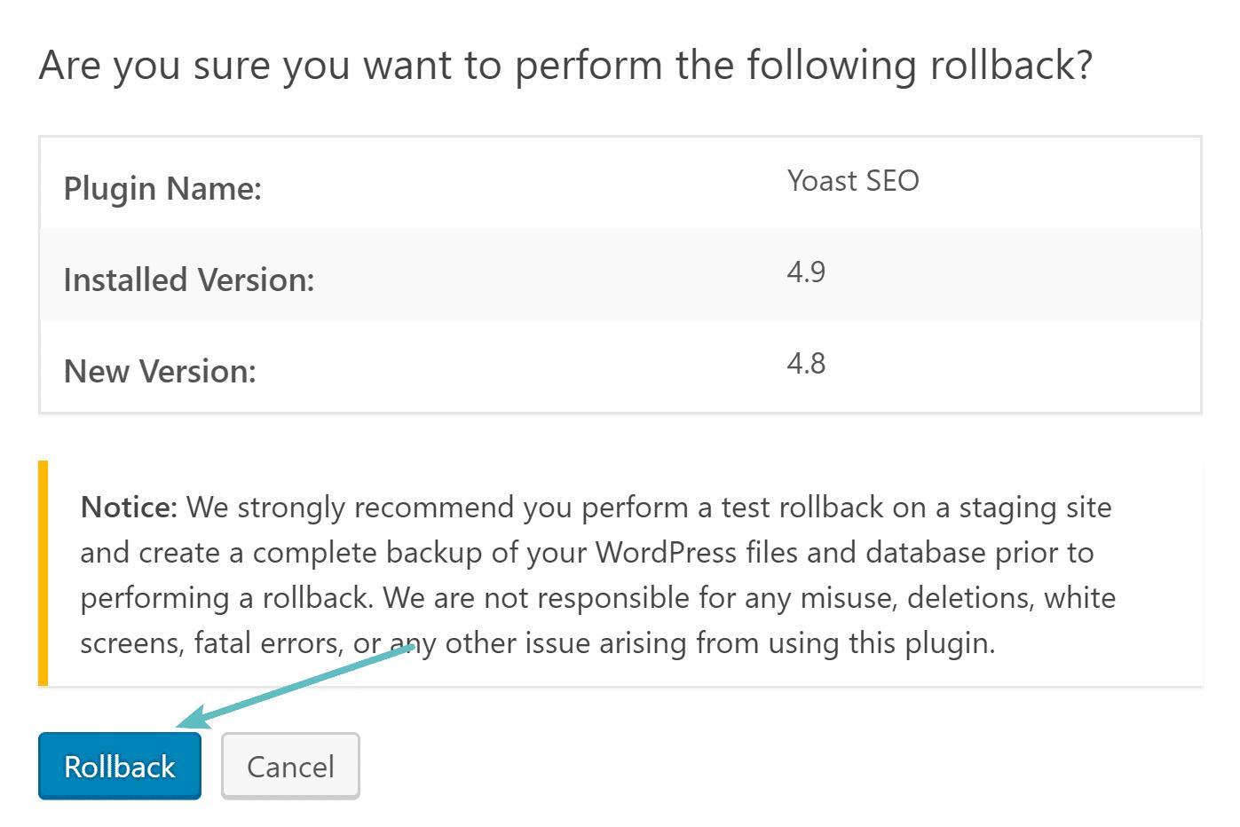 Il plugin Rollback plugin
