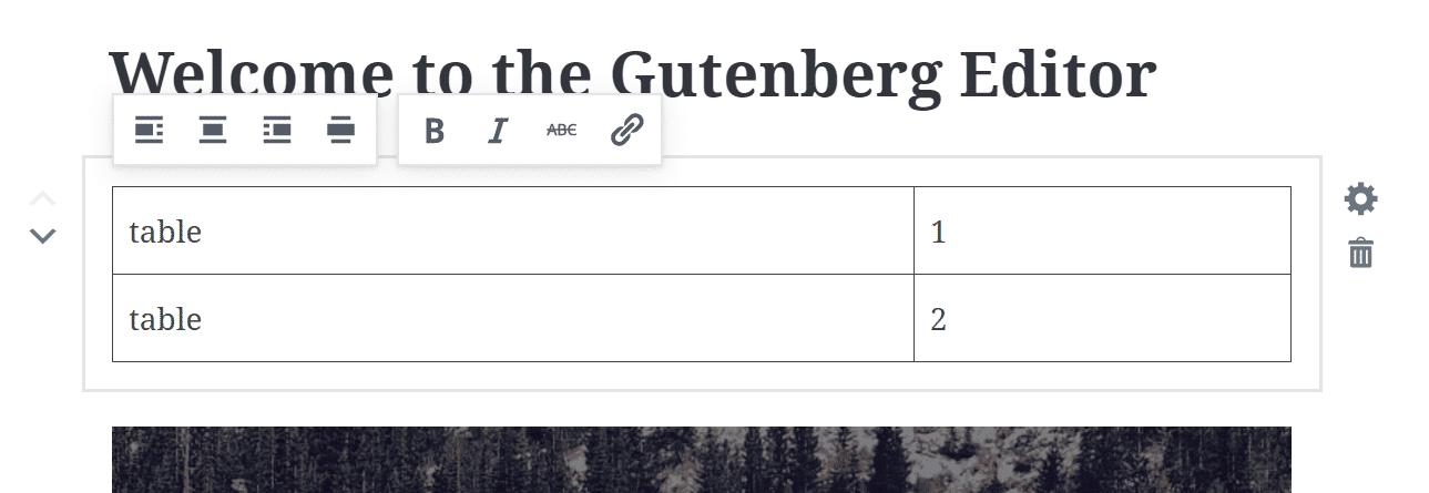 Tabelle in Gutenberg