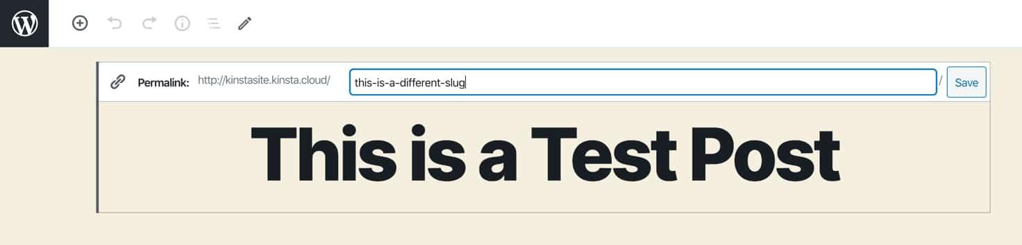 Modifica dello slug WordPress.