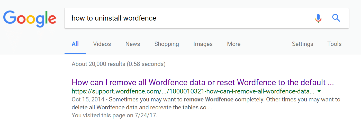 Come disinstallare Wordfence