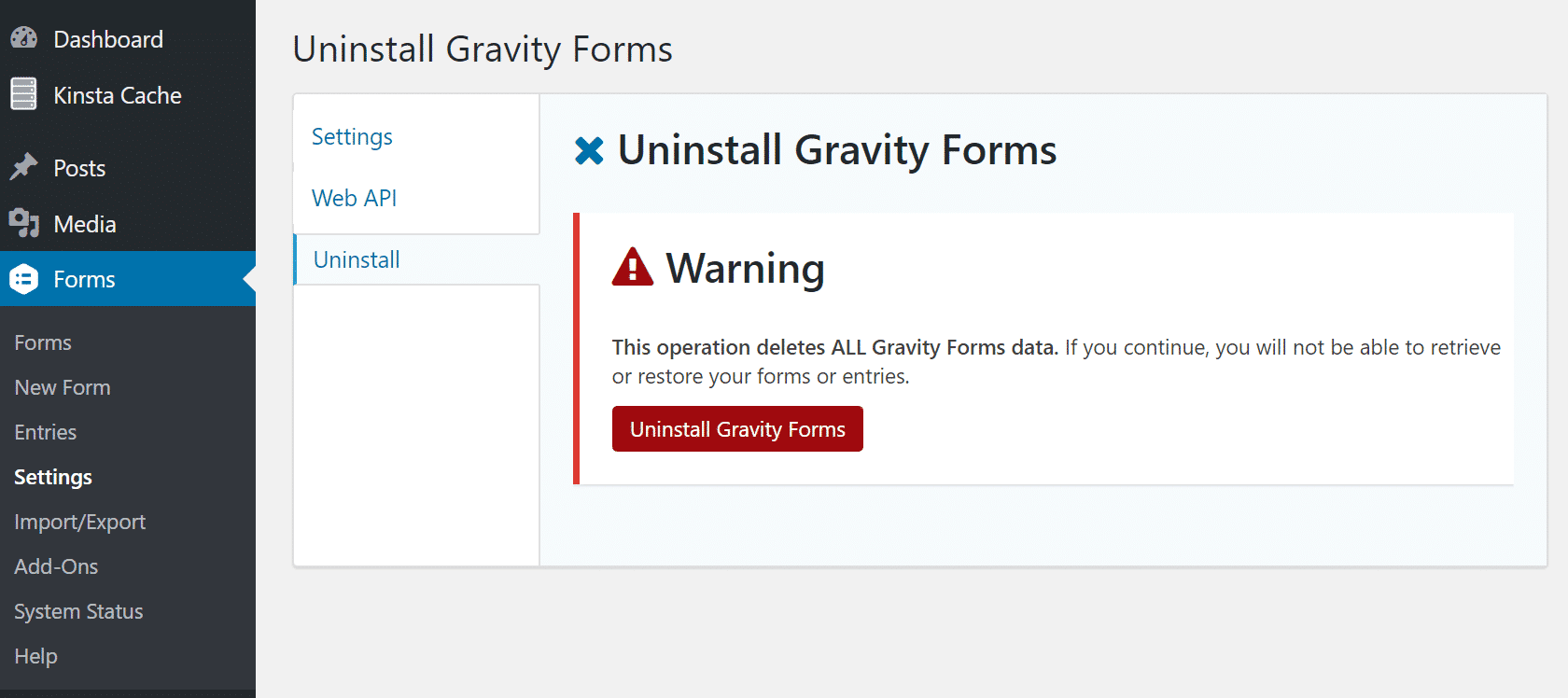 Disinstallare Gravity Forms