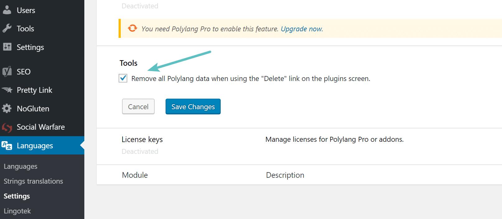 Rimuovere i dati del plugin Polylang