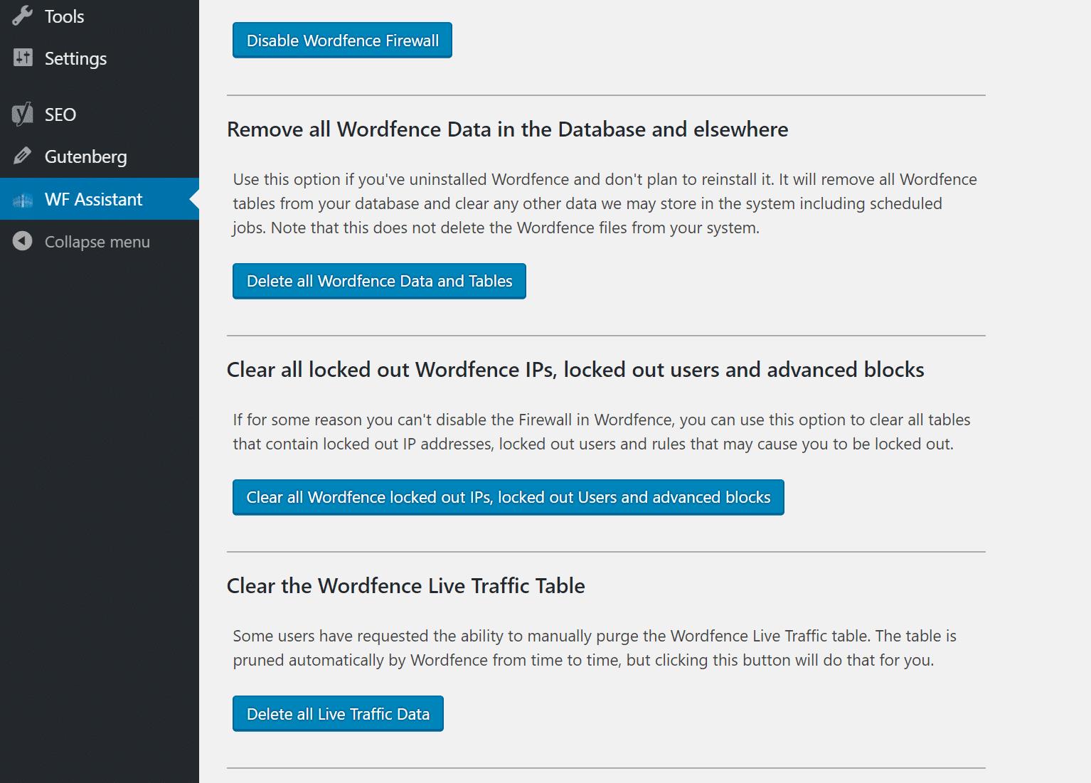 Rimuovere WordFence completamente