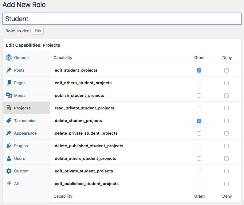 Pagina Add new Role del plugin Members