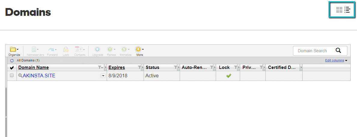 Advanced list view di GoDaddy