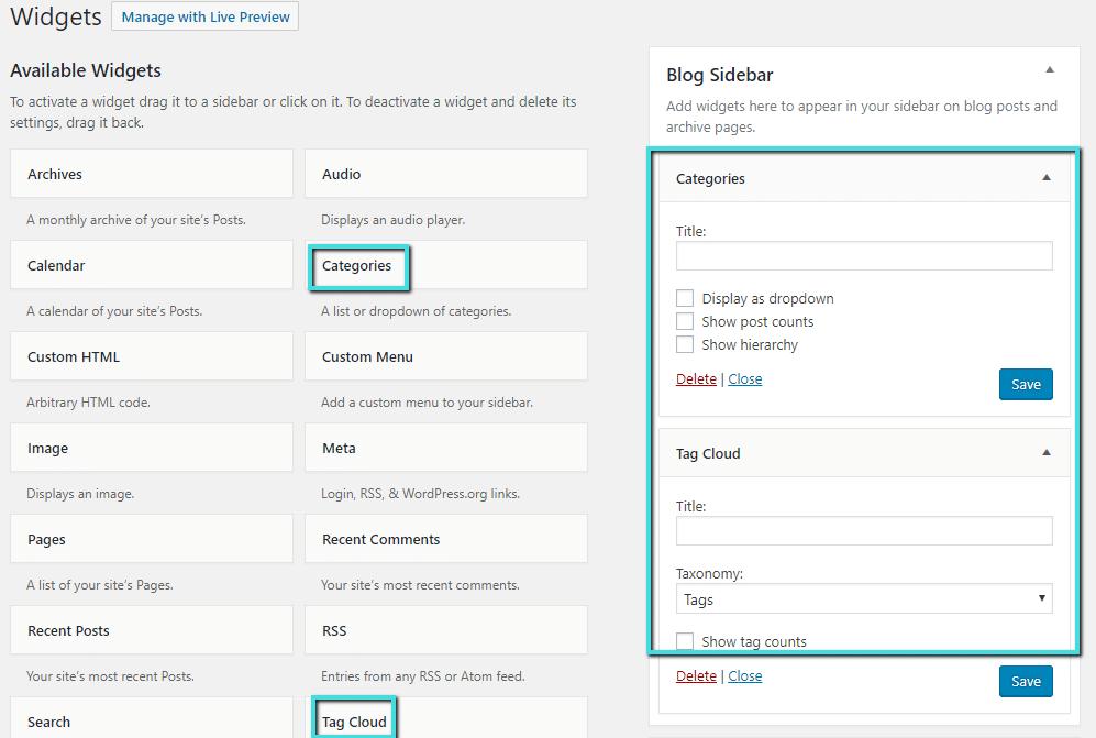 Utilizzare i widget per visualizzare le tassonomie