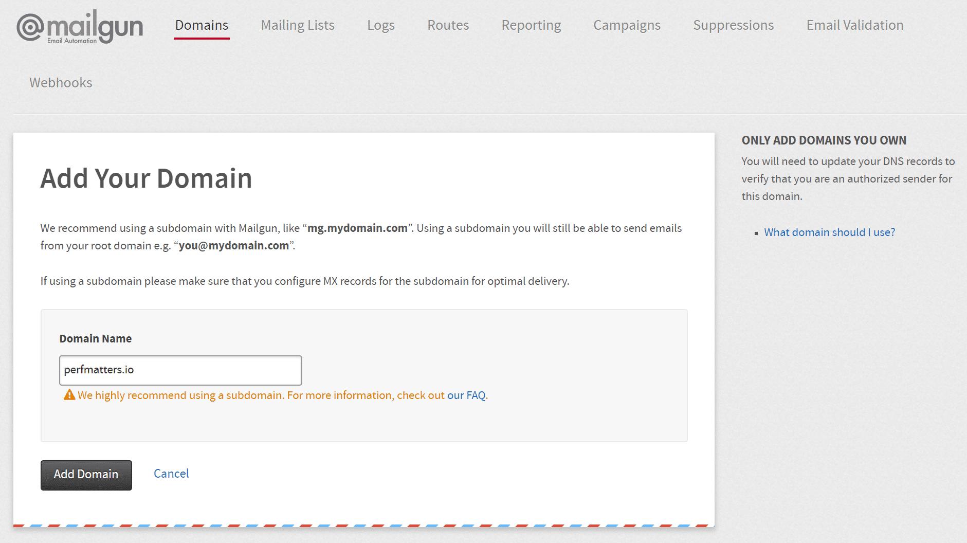 Impostazione dominio in Mailgun