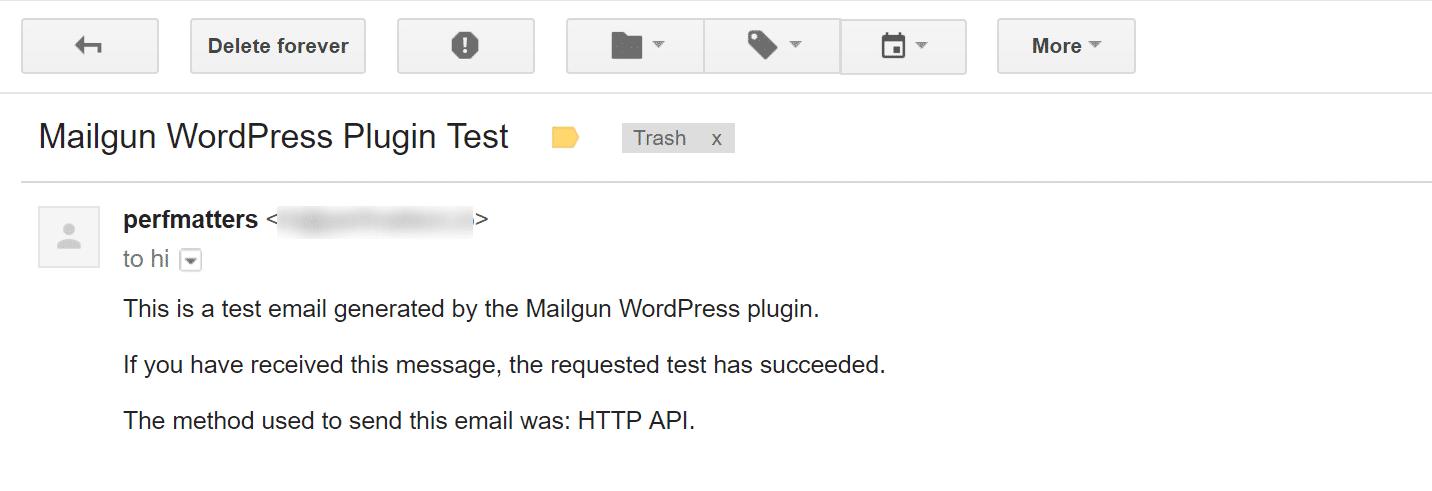 Test email di Mailgun