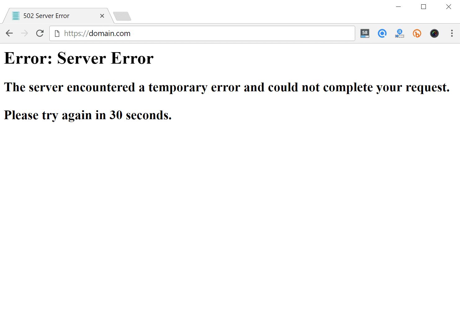 Errore 502 server error nel browser
