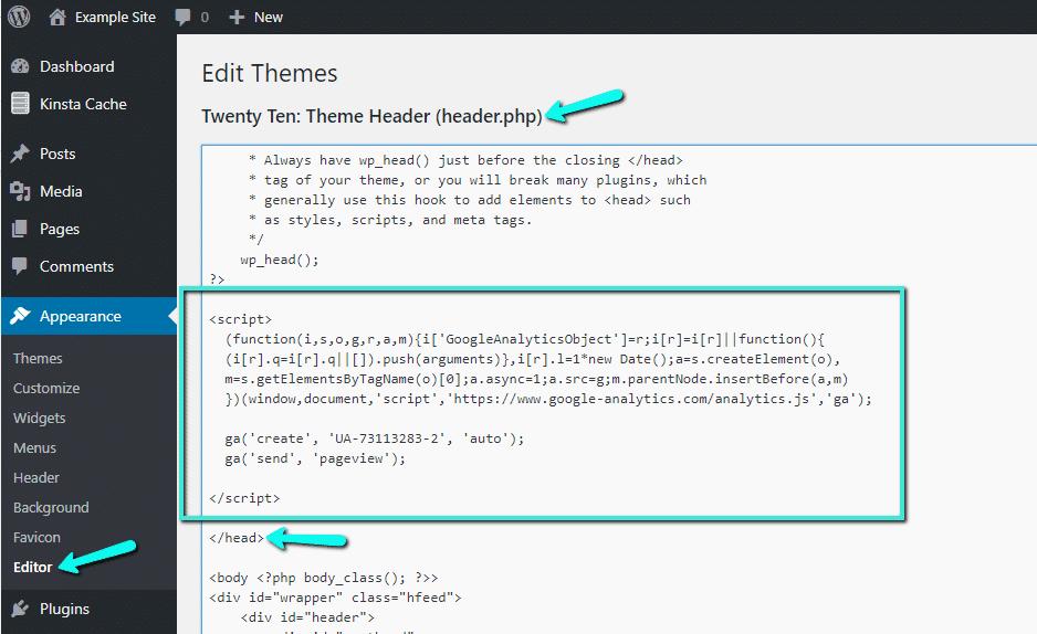 Aggiungere il Codice di monitoraggio di Google Analytics al file header.php