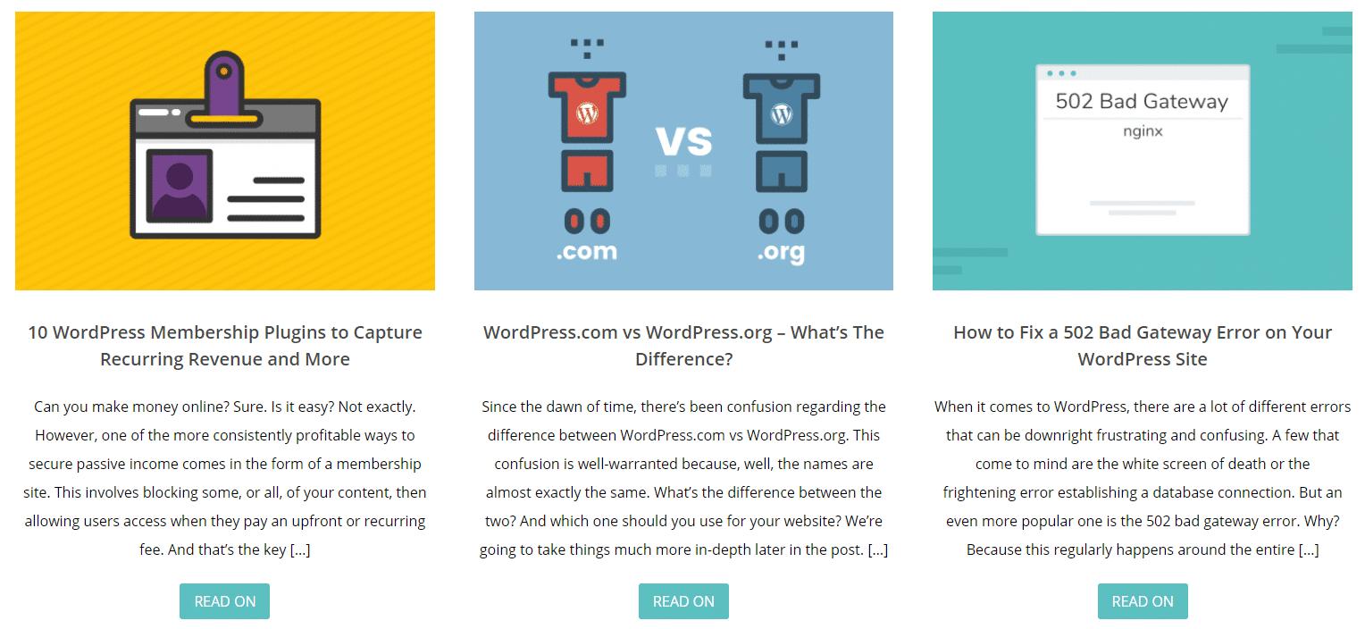 Un esempio di riassunti di WordPress nella pagina index del blog