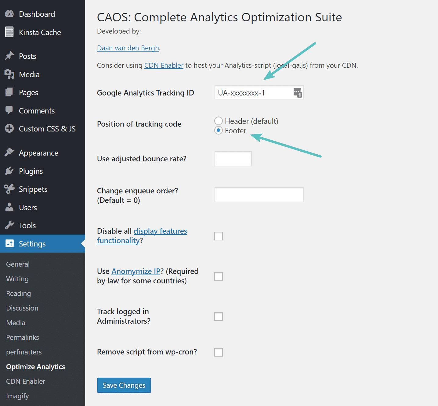 Impostazioni per sincronizzare Google Analytics in locale