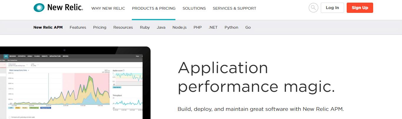 Screenshot della home page di New Relic APM.