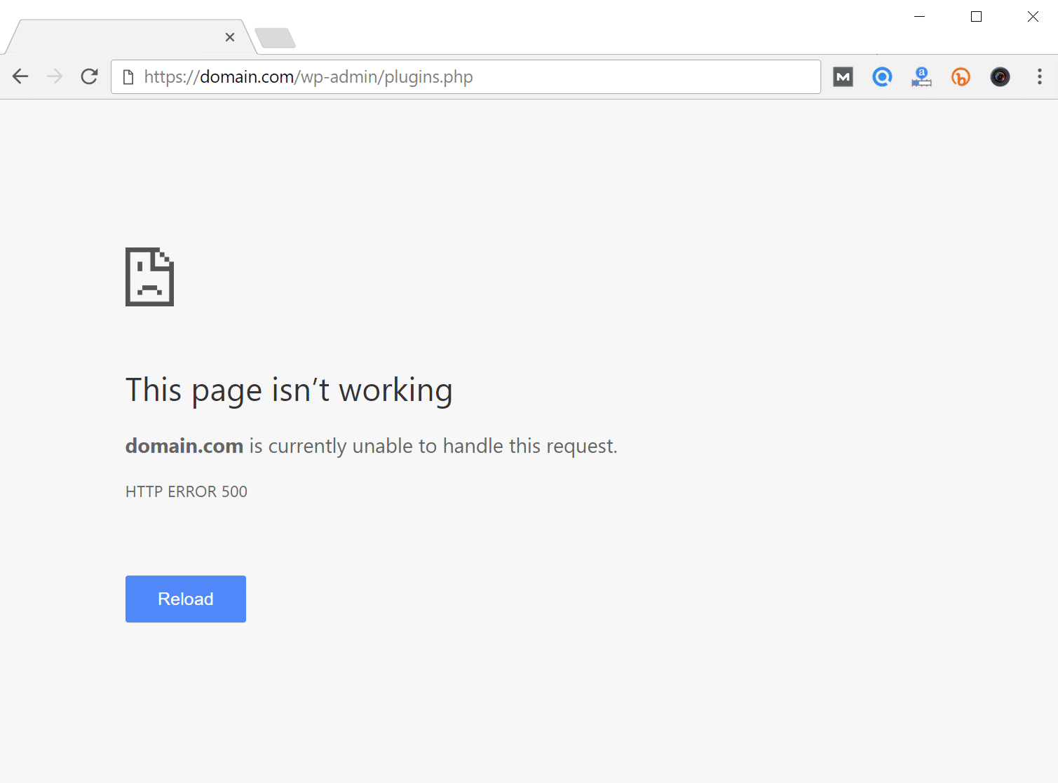 Errore 500 Internal server error in WordPress