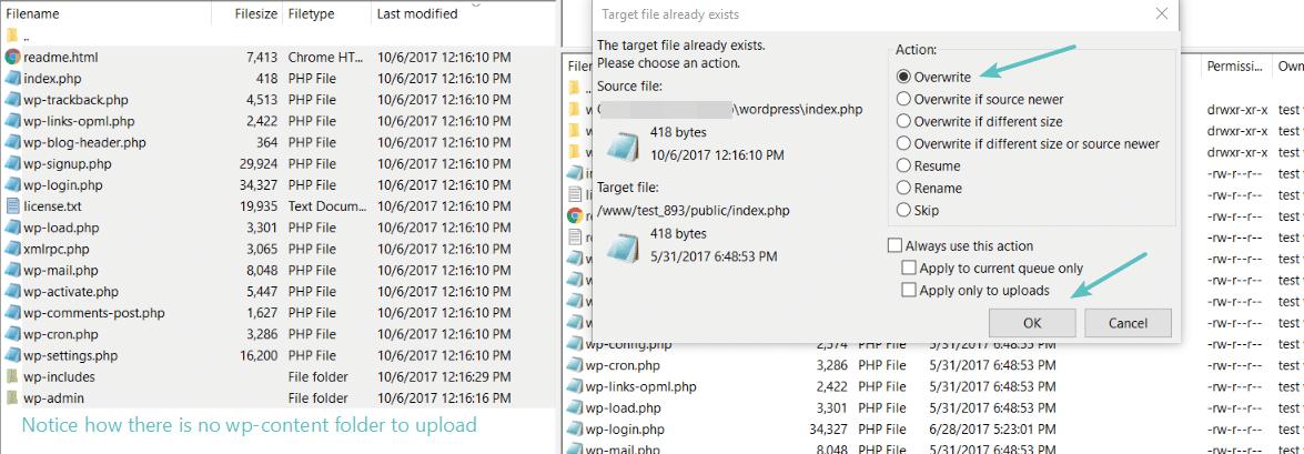 Caricare i file rimanenti via FTP