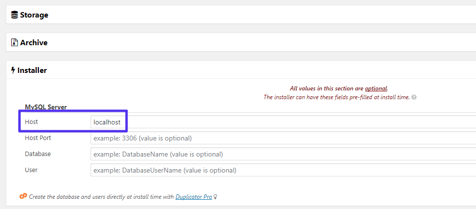 Uso localhost nel plugin Duplicator