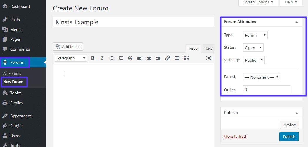 Aggiunta di un nuovo forum bbPress