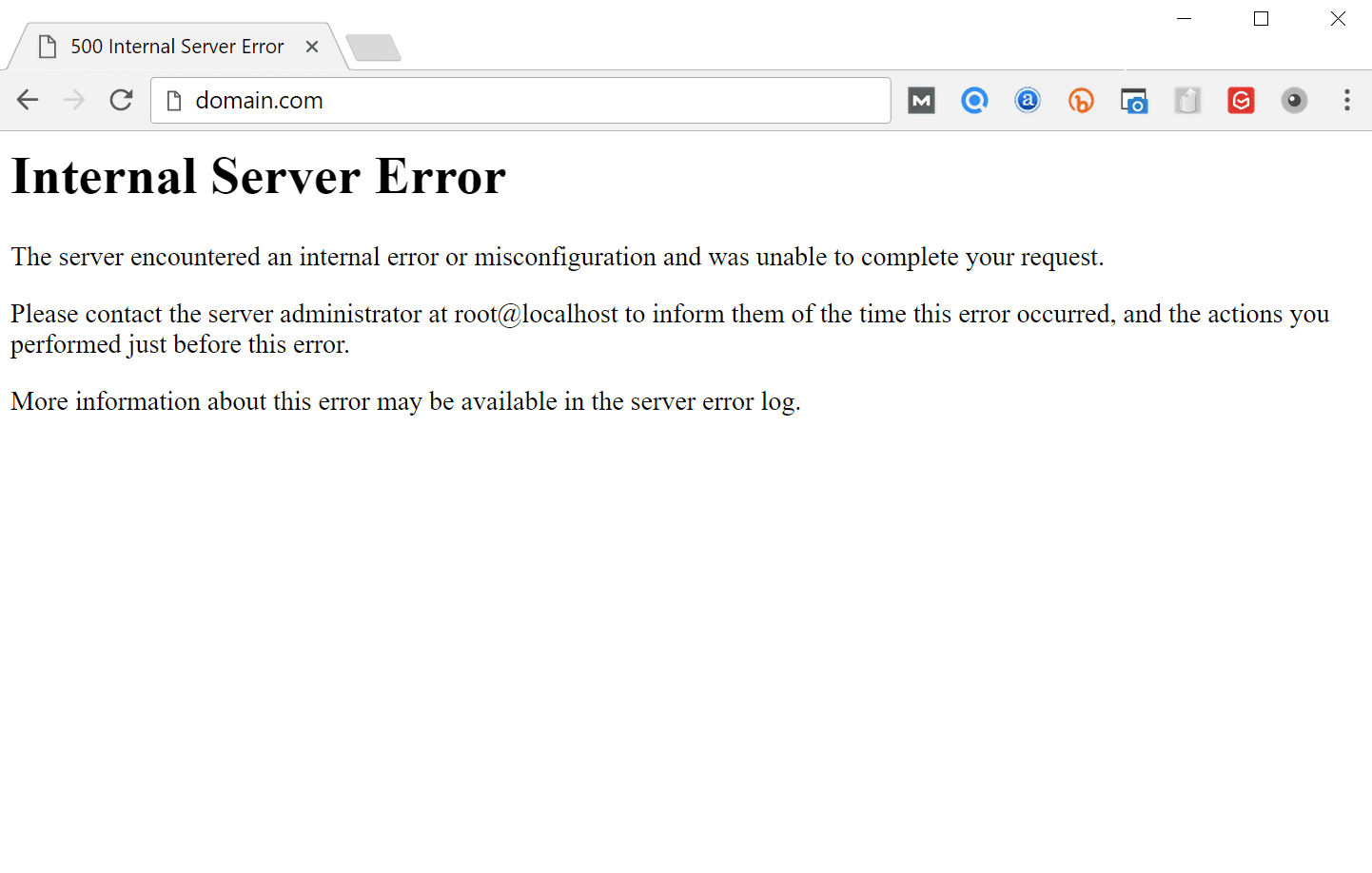 Errore interno del server