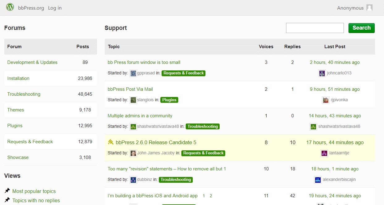 Il forum di supporto bbPress