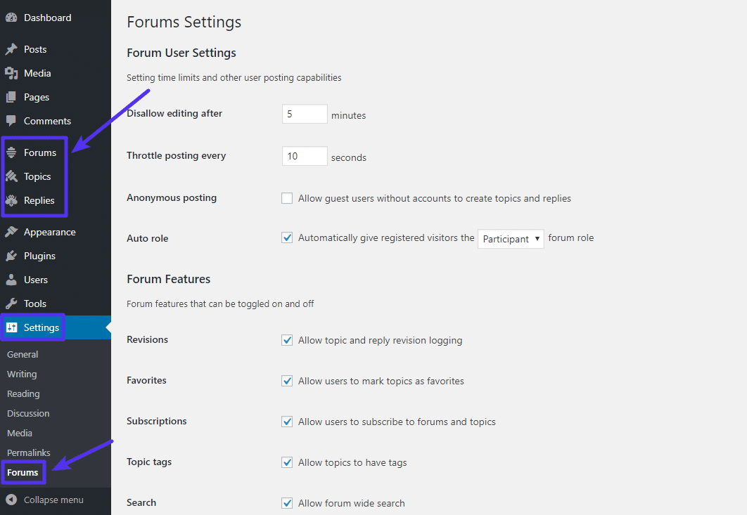 L'interfaccia principale delle impostazioni di bbPress
