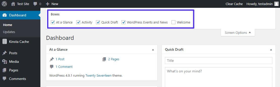 Riquadri amministrazione WordPress